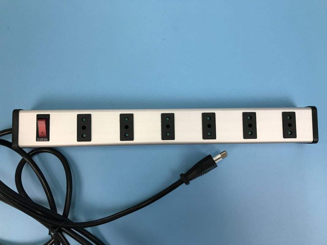 "Italy 6 Way Industrial Power Strip with switch,European ""bipasso"" Socket"